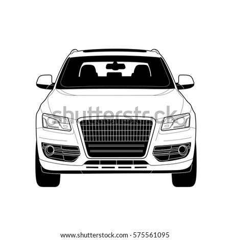 Highend Car Vector Drawing Black White Stock Vector - Audi car vector