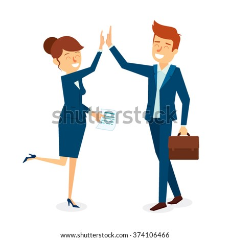 High Five Business Man and Woman Character Design. Vector Illustration - stock vector
