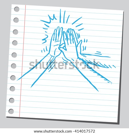 High five group of hands - stock vector