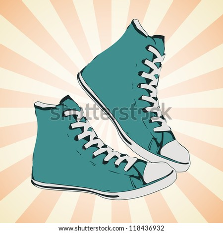 High green sneaker. Side view of a gumshoe. Vector illustration.