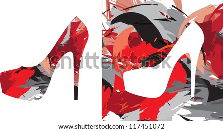 high-heeled shoes in the color splash - stock vector
