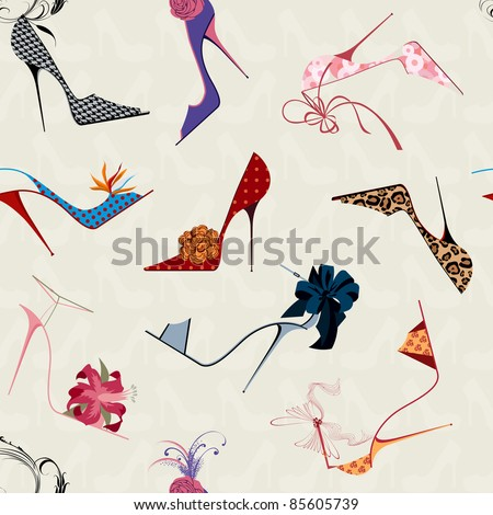 High heels seamless pattern - stock vector