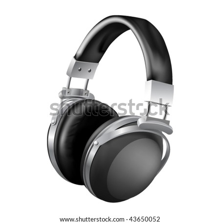 high illustrated model of headphones - vector illustration - stock vector