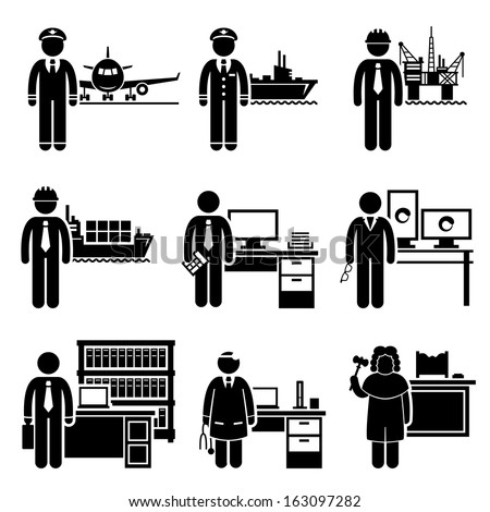 High Income Professional Jobs Occupations Careers - Air Pilot, Ship Captain, Oil Rig Engineer, Logistician, Chartered Accountant, Creative Director, Lawyer, Doctor, Judge - Stick Figure Pictogram - stock vector