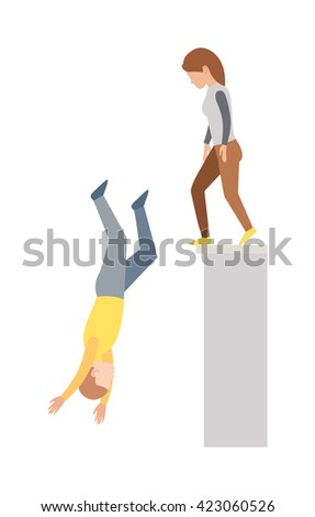 High jump and hard landing jumping down. Jumping down vector concept and jumping down off cliff. Jumping down upside down, woman suicide, dying man jumping down. Building street urban dangerous. - stock vector
