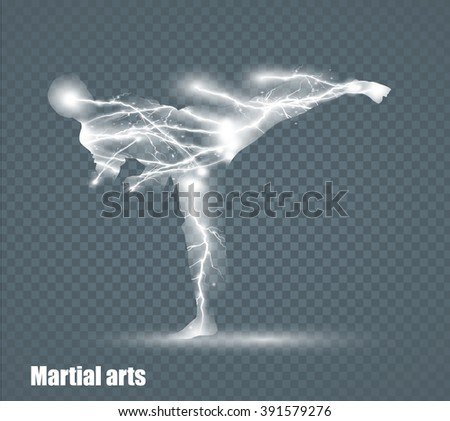 high kick - martial art, flying lightning, vector illustration