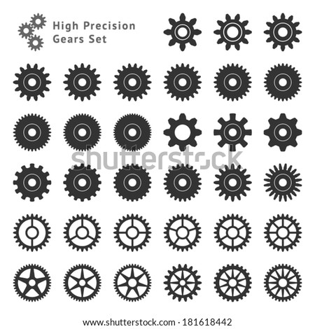 High Precision Gears Set - stock vector