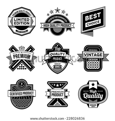 High quality assorted designs vector black and white vintage badges and labels set 3.  - stock vector