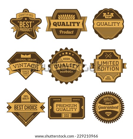 High quality assorted designs vector two colors vintage badges and labels set 5.  - stock vector