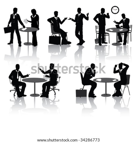 High quality business people silhouettes in different situations - stock vector