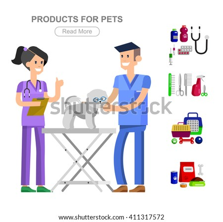 high quality character design veterinarian with dog, pet shop. veterinary Pets accessories and vet store, grooming tools, Veterinary pharmacy, - stock vector