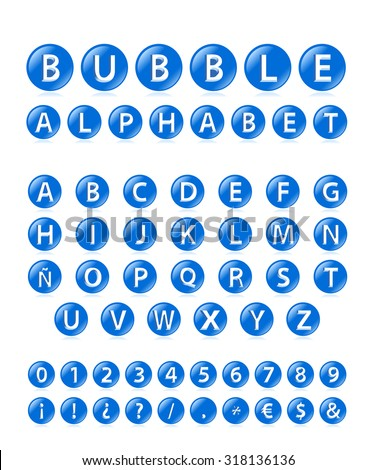 High Quality 3d Blue Bubble Alphabet, Symbols and Numbers with Cavalier Perspective on White Background. - stock vector