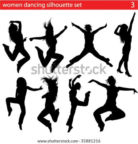 high quality dancing women silhouette set - stock vector