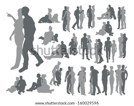 High quality detailed silhouettes of a young couple in various poses - stock vector