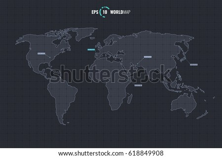 High quality detailed vector outline world stock vector 2018 high quality detailed vector outline world map template isolated on coordinate grid background eps 10 gumiabroncs Gallery