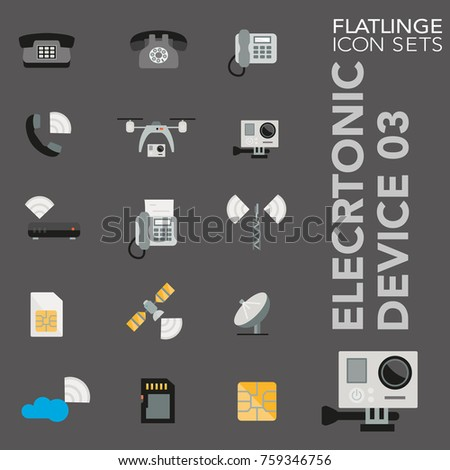 High quality flat colorful icons of electronics, technology. Flatlinge are the best colored pictogram pack unique design for all dimensions and devices. Vector graphic logo symbol and website content.