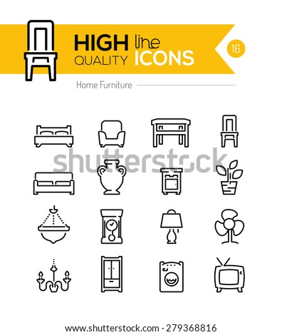 High Quality Furniture line icons - stock vector