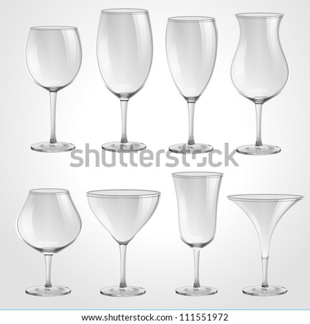 High quality glasses set vector illustration on white background - stock vector