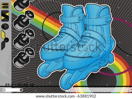 High quality, highly detailed illustration of a pair of roller blades. - stock vector