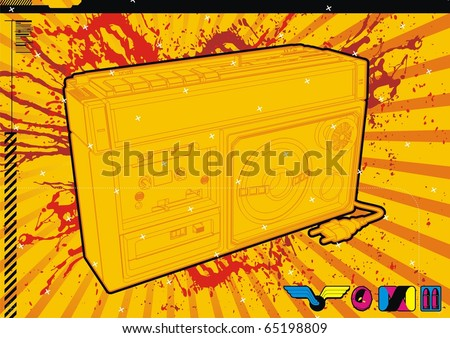 High quality, highly detailed illustration of a retro style 80's Ghetto Blaster. - stock vector
