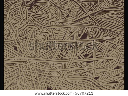 High quality, highly detailed illustration of sea of cables or wires. - stock vector