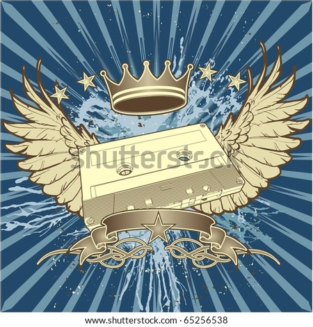 High quality, highly detailed illustration of winged cassette motif. - stock vector