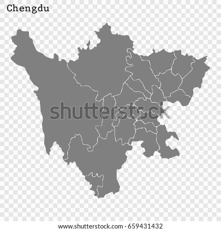 High Quality Map Chengdu City China Stock Photo Photo Vector