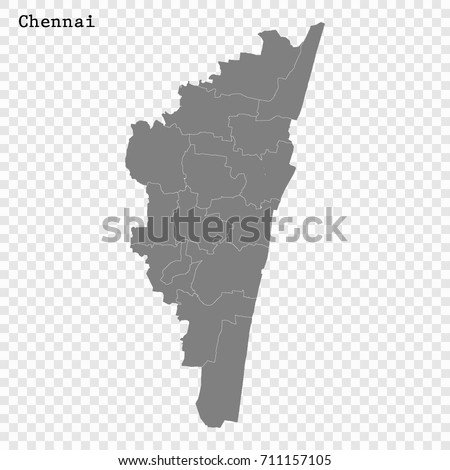 High Quality Map Chennai City India Stock Vector 711157105