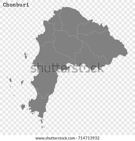 High Quality Map Chonburi Province Thailand Stock Vector 714713932