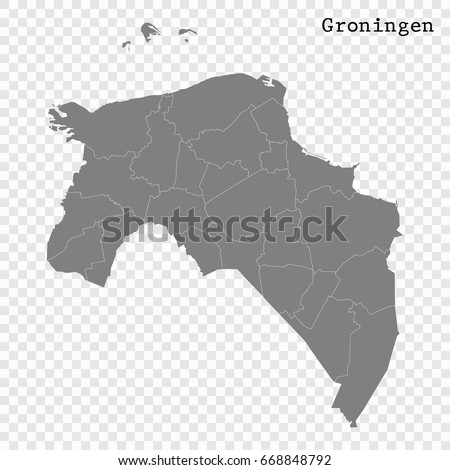 High Quality Map Groningen Province Netherlands Stock Vector