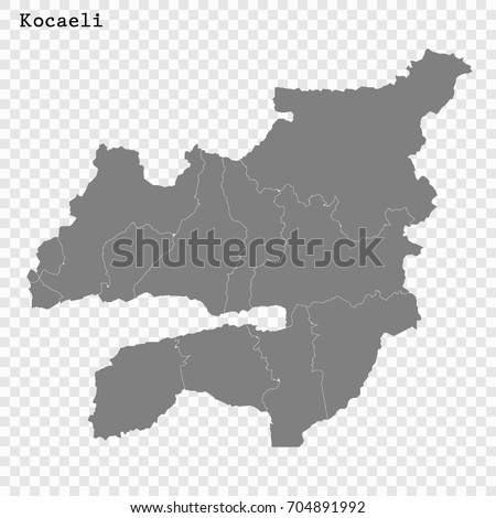 High Quality Map Kocaeli Province Turkey Stock Vector HD Royalty