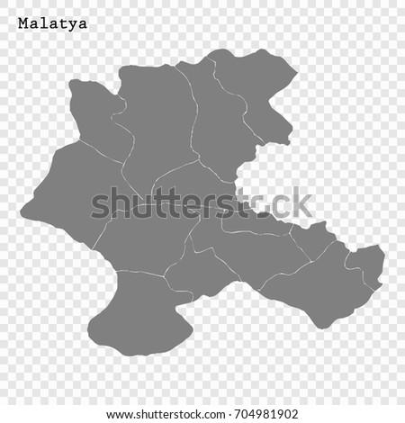 High Quality Map Malatya Province Turkey Stock Vector 704981902