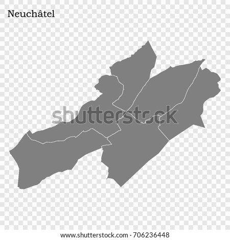 High Quality Map Canton Switzerland Borders Stock Vector 706236448