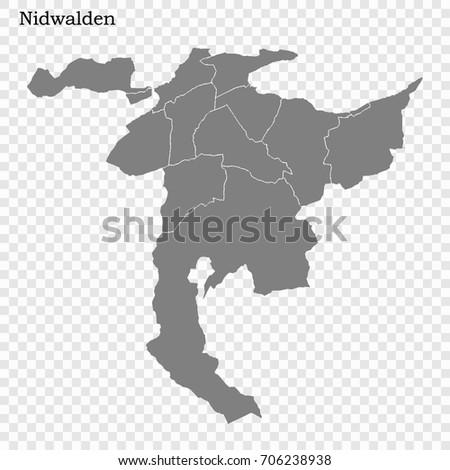 High Quality Map Nidwalden Canton Switzerland Stock Vector 706238938