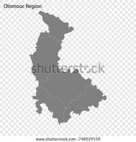 High Quality Map Olomouc Region Czech Stock Vector 748039558