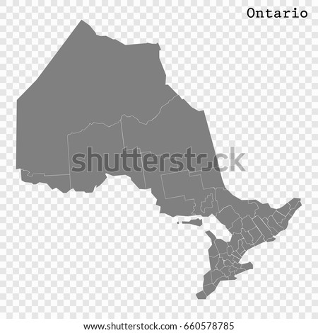 High Quality Map Ontario Province Canada Stock Vector - Map of ontario