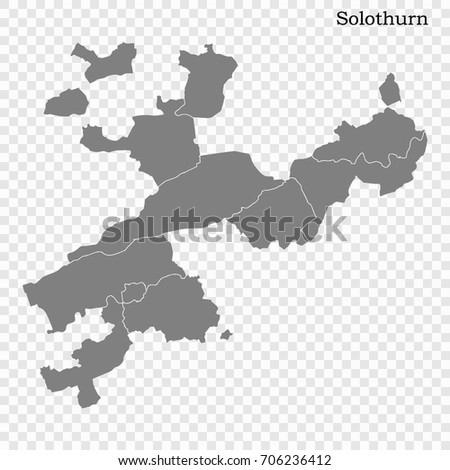 High Quality Map Solothurn Canton Switzerland Stock Vector 706236412