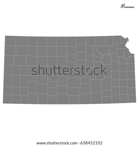 High Quality Map Of U S State Of Kansas With Borders Of The Counties