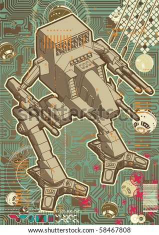 High quality Mech warrior design on hectic technology background. - stock vector