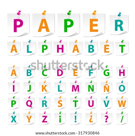 High Quality Note Paper Alphabet on White Background (a , b , c ,d , e , f , g , h , i , j , k , l , m , n , o , p , q , r , s , t , u , v , w , x , y , z). - stock vector