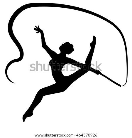 Young Gymnast Woman Ribbon Silhouette Performing Stock ...