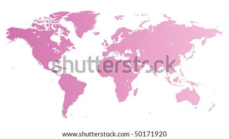 High quality pink vector map of the World. - stock vector