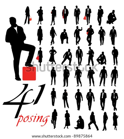 High quality posing silhouettes. Vector illustration - stock vector