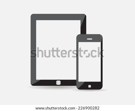 High quality Realistic vector illustration set of modern digital tablet and mobile phone with blank screen. Isolated on white background. EPS 10 - stock vector