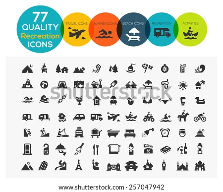 High Quality Recreation Icons including: travel, beach, sports, hotel and camping - stock vector