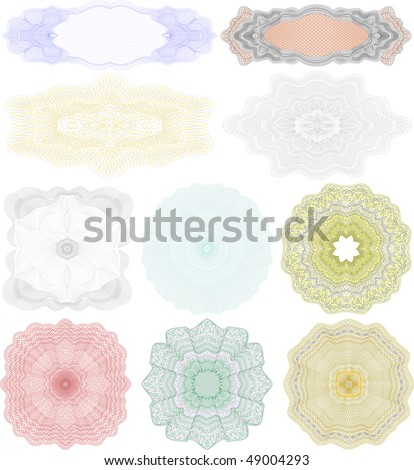 high quality rossete vector elements for diploma or certificate - stock vector