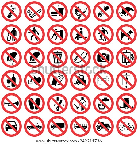 High quality Standard Prohibition sign collection - stock vector