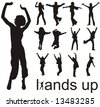 high quality traced hands up people silhouettes vector illustration - stock vector