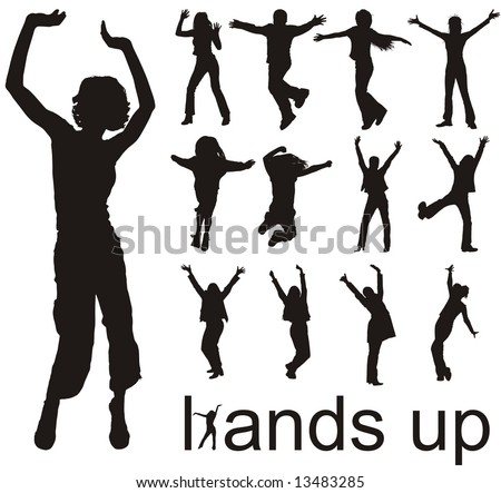 high quality traced hands up people silhouettes vector illustration