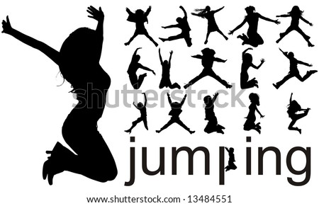 high quality traced jumping people silhouettes vector illustration